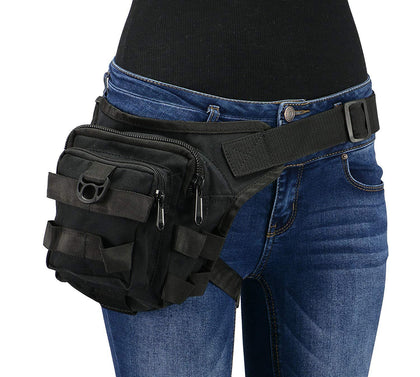 Milwaukee Leather MP8841 Black Textile Conceal and Carry Tactical Thigh Bag with Waist Belt