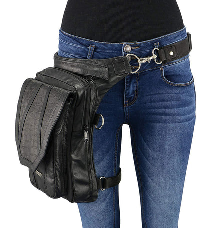 Milwaukee Leather MP8896 Extra Large Conceal and Carry Black Leather Thigh Bag with Waist Belt