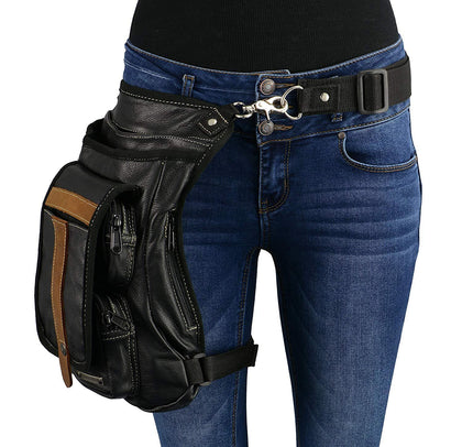 Milwaukee Leather MP8897 Black and Tan Conceal and Carry Leather Thigh Bag with Waist Belt