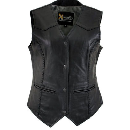 Xelement B206 'Road Queen' Women's Leather Braided Vest