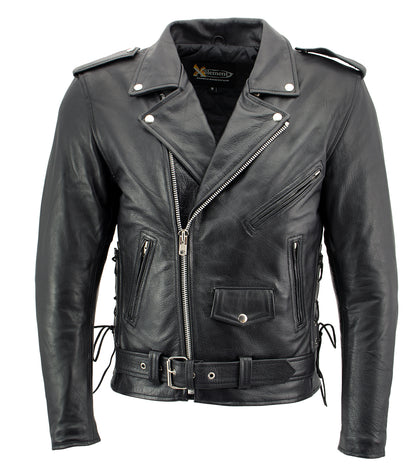 Xelement B7103 'Ruffian' Mens Classic Black Motorcycle Side Lace Leather Jacket with X-Armor Protection