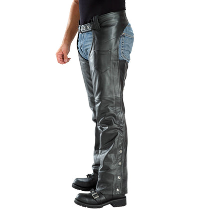 Xelement B7552 Men's Black Easy Fit Premium Motorcycle Chaps