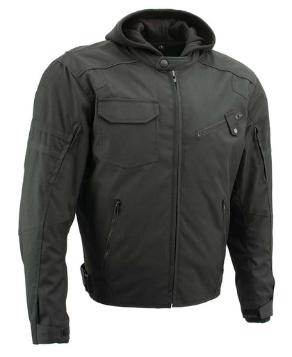 Xelement B91022 'Flight' Mens Black Textile Jacket with X-Armor and Removable Hoodie