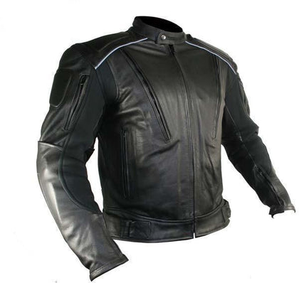 Xelement B9119 'Frenzy' Men's Black Armored Leather Motorcycle Jacket