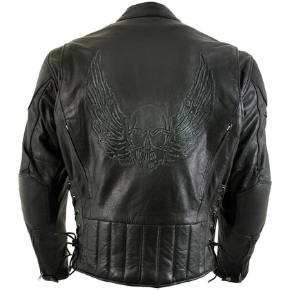 Xelement B96333 'Flying Mayhem Skull' Mens Black Leather Motorcycle Jacket with X-Armor Protection