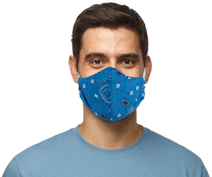 Air Soul MP7923FM Blue Paisley Protective Face Mask with Optional Filter Pocket