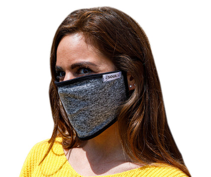 Air Soul MP7923FM Black and Grey Protective Face Mask with Optional Filter Pocket