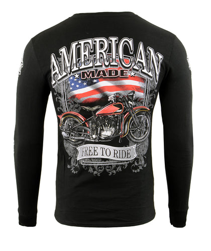 Biker Clothing Co. BCC117001 'American Made Free, Free To Ride' Long Sleeve T-Shirt