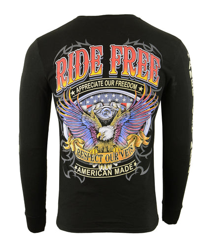 Biker Clothing Co. BCC117005 'Ride Free, American Made' Long Sleeve T-Shirt