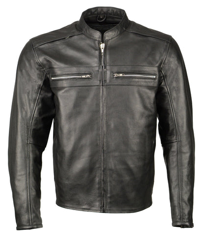 M Boss Motorcycle Apparel BOS11509 Mens Black Armored Leather Cafe Racer Jacket