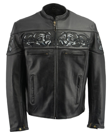 M Boss Motorcycle Apparel BOS11514 Men's Black Reflective Skull Premium Cowhide Leather Motorcycle Jacket