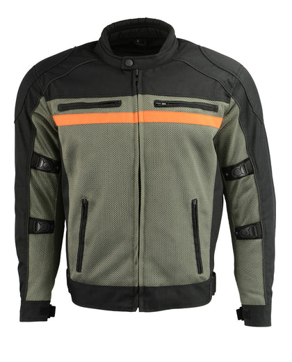 M Boss Motorcycle Apparel BOS11707 Mens Black and Grey Nylon and Mesh Combo Racer Jacket with Armor