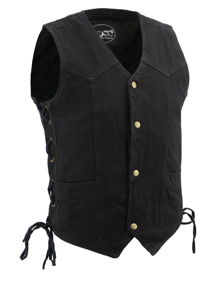M Boss Motorcycle Apparel BOS13003 Mens Black Denim Snap Front Side Lace Vest with Exterior Gun Pocket
