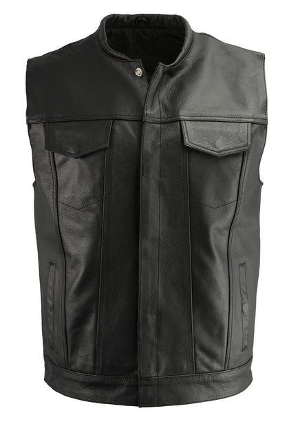 M Boss Motorcycle Apparel BOS13502 Mens Leather Black Snap Front Club Style Vest with Exterior Gun Pocket