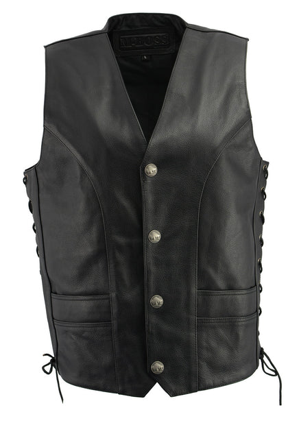 M Boss Motorcycle Apparel BOS13507 Mens Black Side Lace Leather Vest with Buffalo Nickel Snaps
