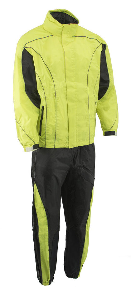 M Boss Motorcycle Apparel BOS19501 Men's Black and High-Viz Green Two-Piece Motorcycle Rain Suit