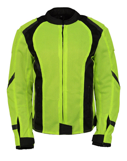 M Boss Motorcycle Apparel BOS22705 Ladies Hi Vis Green Mesh Racer Jacket with Open Neck