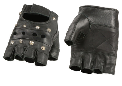 M Boss Motorcycle Apparel BOS37560 Men's 'Studded' Black Leather Fingerless Gloves