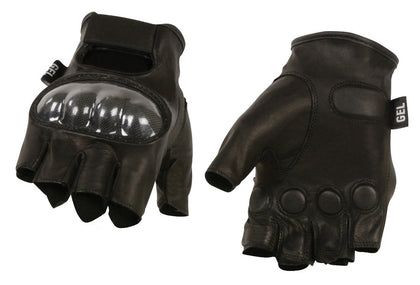 M Boss Motorcycle Apparel BOS37561 Men's Black Leather Fingerless Gloves with Hard Knuckles