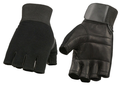 M Boss Motorcycle Apparel BOS37562 Men's Black Leather with Spandex Fingerless Gloves