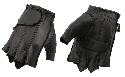 M Boss Motorcycle Apparel BOS37565 Men's Black Gel Palm Full Panel Leather Fingerless Gloves