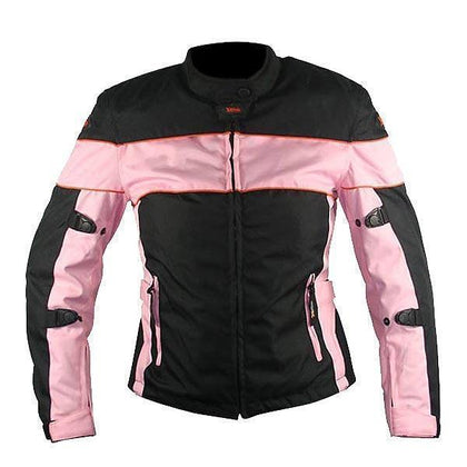 Xelement CF462 Women's Black and Pink Tri-Tex Fabric Motorcycle Jacket with X-Armor Protection