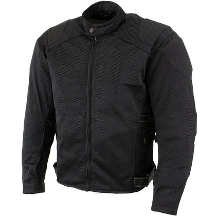 Xelement CF2157 Men's 'Caliber' Black Mesh Motorcycle Jacket with X-Armor Protection