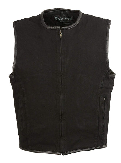 Club Vest CVM3038 Men's Black Denim Collarless Vest with Gun Pocket