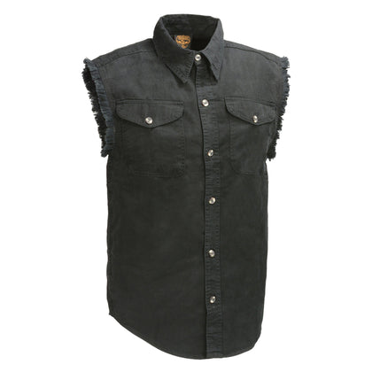 Milwaukee Leather Denim DM1002 Mens Black Lightweight Sleeveless Denim Shirt