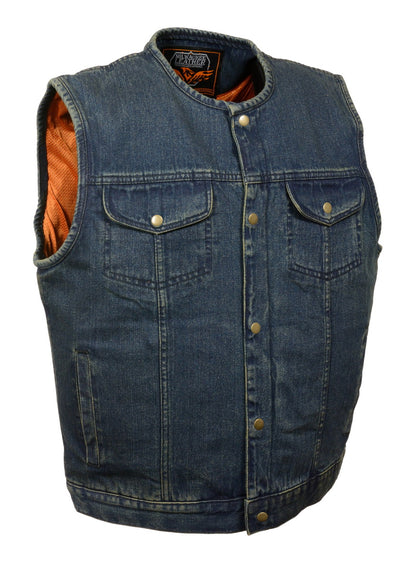 Milwaukee Performance DM1937 Men's Blue Snap Front Denim Club Vest with Gun Pocket