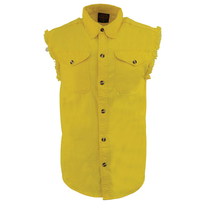 Milwaukee Leather DM4008 Men's Yellow Lightweight Sleeveless Denim Shirt