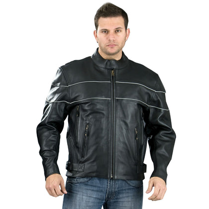 Genuine Leather EL2121 Men's Black Side Stretch Jacket with Reflective Piping