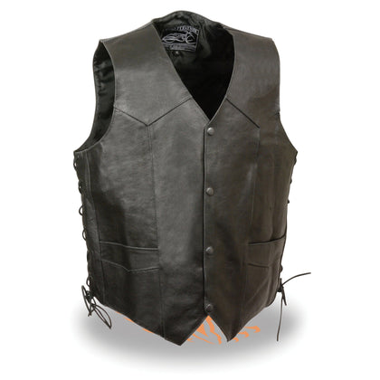Event Leather ELM3900 'Live to Ride' Men's Black Leather Vest with Side Laces and Flying Eagle Emboss