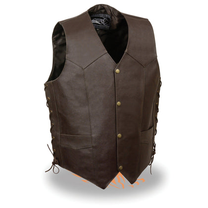 Event Leather ELM3915 'Skull and Cross Bones' Men's Brown Side Lace Leather Emboss Vest