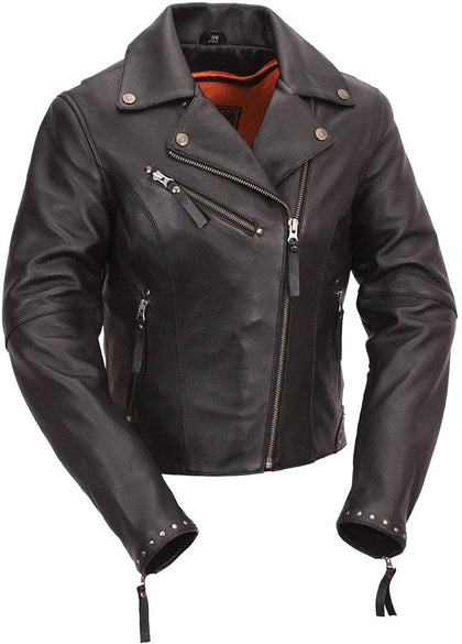 First Manufacturing FIL159NOCZ Women's Black Scarlett Motorcycle Leather Jacket