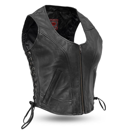 First Manufacturing FIL542GDD Women's 'The Raven' Motor Fashion Style Black Leather Vest