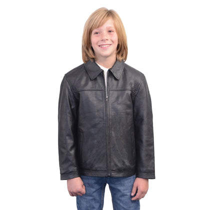 Milwaukee Leather LKK1940 Youth Size JD Black Leather Jacket with Front Zipper