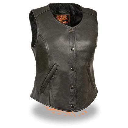 Milwaukee Leather LKL4701 Ladies Snap Font Long  Body Leather Vest