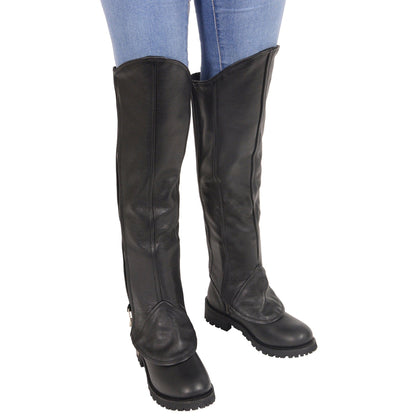 Milwaukee Leather LKL6755 Women's Leather Black Knee High Half Chaps with Zipper Entry