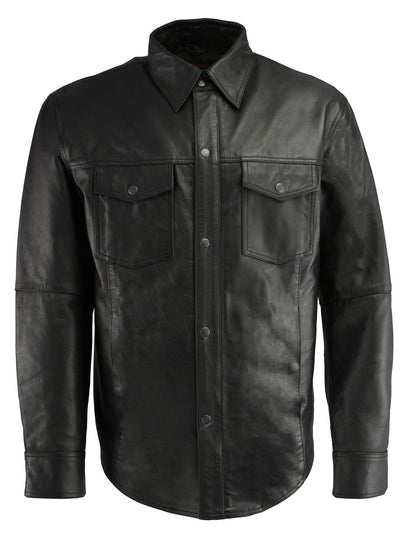 Milwaukee Leather LKM1601 Men's Black Lightweight Leather Snap Front Shirt