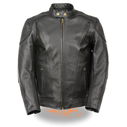 Milwaukee Leather LKM1900 Boy's Black Leather Side Lace Vented Moto Jacket