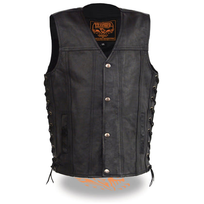 Milwaukee Leather LKY3870 Youth Size Snap Front and Side Laces Leather Vest