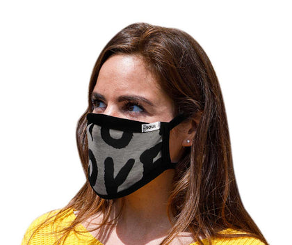 Air Soul MP7923FM USA Made 'Love' Grey and Black Protective Face Mask with Optional Filter Pocket