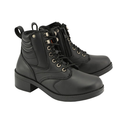 Milwaukee Leather MBK9275 Boys Black Lace-Up Boots with Side Zipper Entry