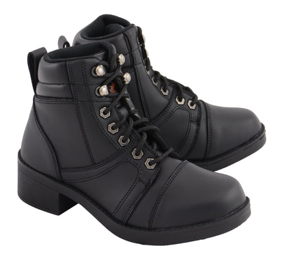 Milwaukee Leather MBK9285 Kids Black Lace to Toe Biker Style Boot