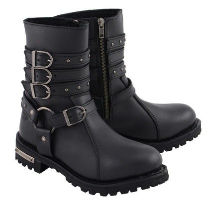 Milwaukee Leather MBL9399 Womens 9 Inch Black Triple Buckle Leather Harness Boot with Side Zipper Entry