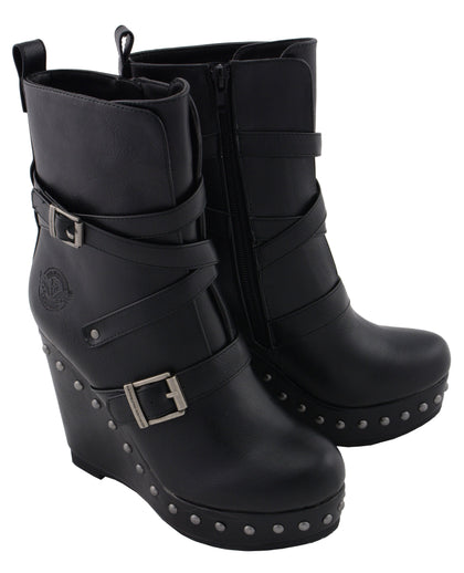 Milwaukee Performance MBL9437 Womens Black Triple Strap Boot with Platform Wedge