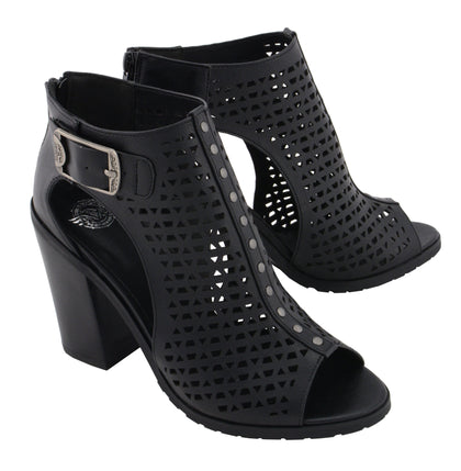 Milwaukee Performance MBL9453 Women's Black Mesh Open Toe Platform Heeled Sandals with Buckle Strap