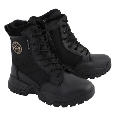 Milwaukee Leather MBL9495 Women Black Leather Tactical Boot with Side Zipper