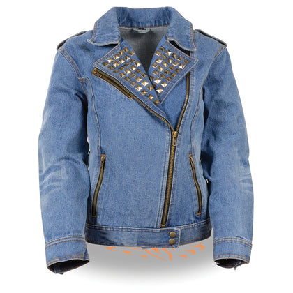 Milwaukee Performance MDL2000 Ladies Blue Denim Jacket with Studded Spikes